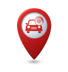 Car with air conditioner icon on red pointer vector