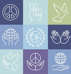Line peace signs and logos vector