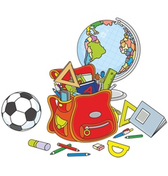 Schoolbag globe and ball vector