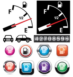 Gas gauge and icons of petrol station vector