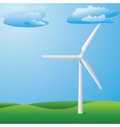 Wind turbine on grass field vector