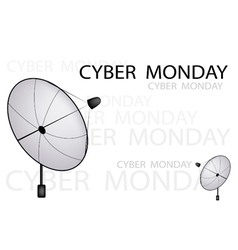 A satellite dish sending a cyber monday sign vector