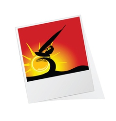 Photo frame with surfing vector