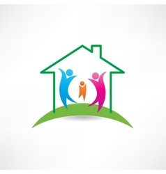 Happiness in the house icon vector