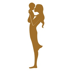 Young mother with baby one color vector