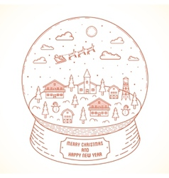 Line style christmas and new year snowball town vector