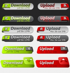 Upload and download button set vector