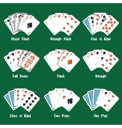 Poker hands set vector