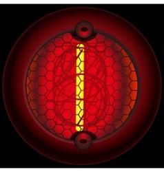 Digit 1 one nixie tube indicator vector