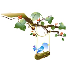 Bird on tree swing vector