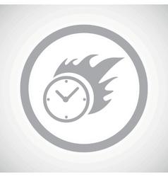 Grey burning clock sign icon vector