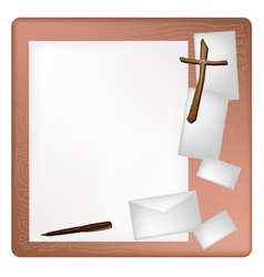 A pen lying on a blank page and envelope vector