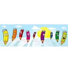Colorful crayons drawing on white paper - vector