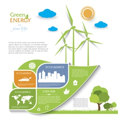 Creative infographic design with wind turbines vector