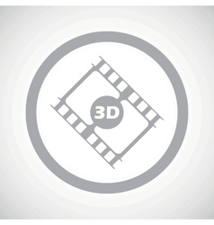 Grey 3d movie sign icon vector