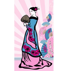Japanese vertical background geisha vector