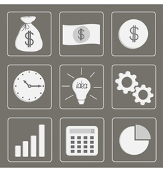 Business icons set grey vector