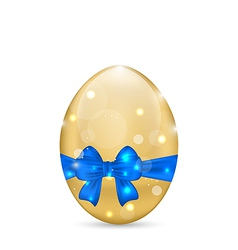 Easter paschal egg with blue bow isolated on white vector