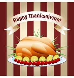 Symbol of thanksgiving day fried turkey vector