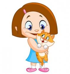 Girl with kitten vector