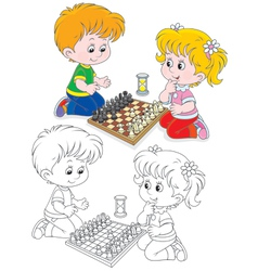 Children play chess vector