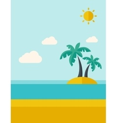 Tropical sea island with palm trees vector
