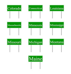 Set road signs of usa states vector