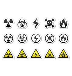 Danger risk warning icons set vector