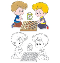 Children play checkers vector