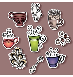 Set of stickers with ornamental coffee cups vector