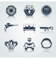 Space game icons black vector
