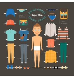 Paper doll man template vector