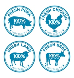 Set of fresh meat labels vector