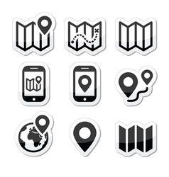 Map travel icons set vector