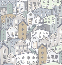 Urban winter landscape seamless pattern sketch vector