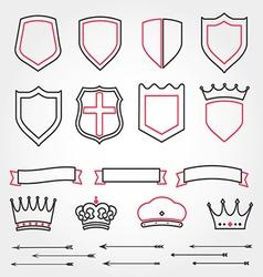 Set line shields heraldic crowns ribbons ar vector