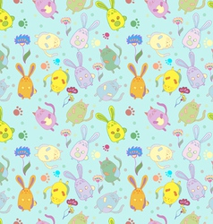 Catsrabbits flowers pattern background vector