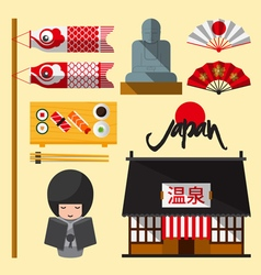 Set of japan icon in flat design vector