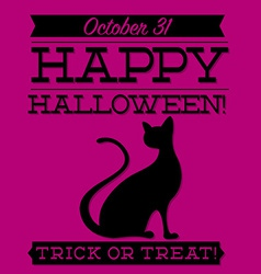 Black cat typographic halloween card in format vector