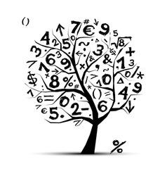 Art tree with math symbols for your design vector