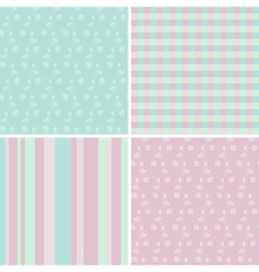 4 pastel seamless patterns vector