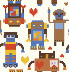 Robots seamless pattern vector