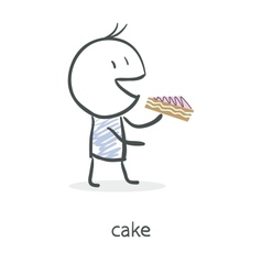 Cartoon boy eating cake vector
