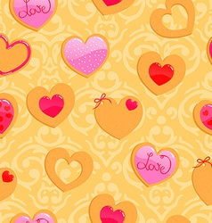 Cute yellow seamless valentines day pattern with vector