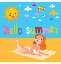 Hello summer pretty girl sunbathing on the beach vector