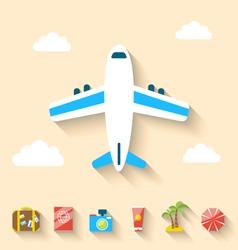 Flat set icons of planning summer vacation minimal vector