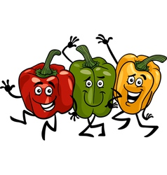 Peppers vegetables group cartoon vector