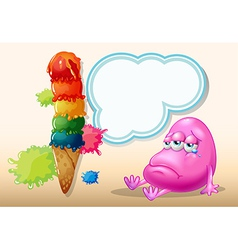 A sad beanie monster near the giant icecream vector