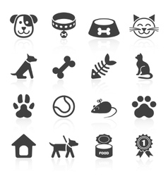 Trendy pet icons isolated on white vector