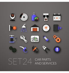 Flat icons set 24 vector